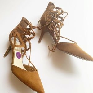 Marc Fisher NEW Lace Up Pointed Toe Suede heels